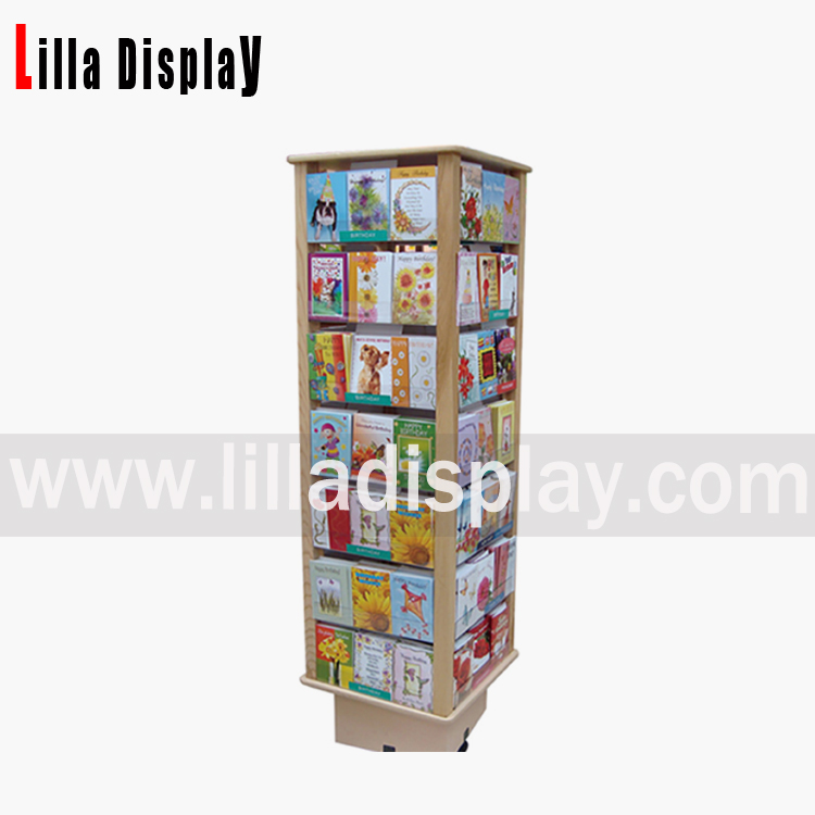 Lilladisplay the best selling natural wooden rotating slat tower rotating greeting card display stand m4hsunfo