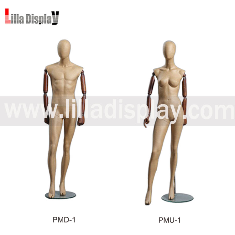 Lilladisplay-Vintage Paper mache manenquin full body male and female mannequin with wooden arms-PMD,PMU