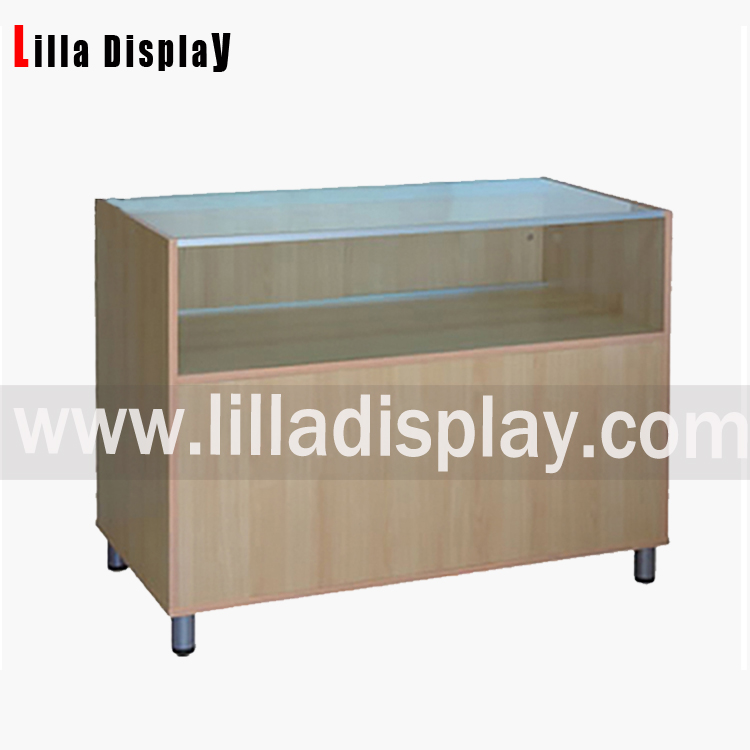 Lilladisplay full vision wooden glass display counter and glass display cabinet C001
