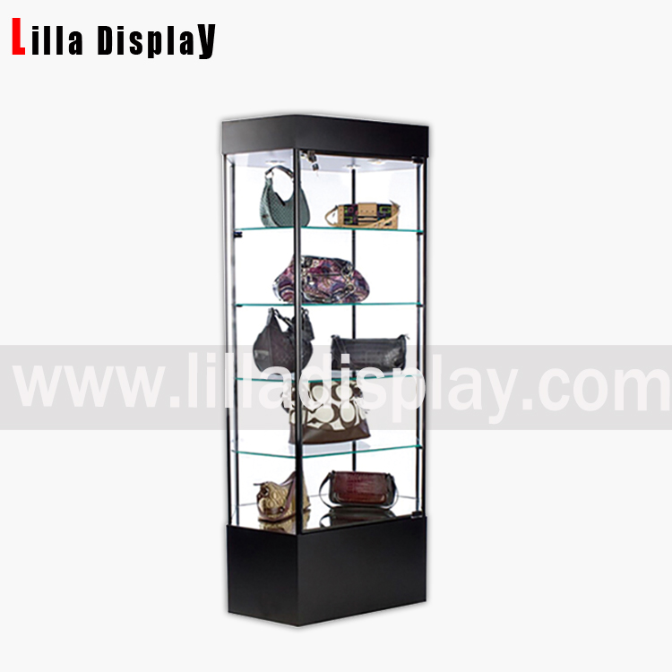 glass display case with lights