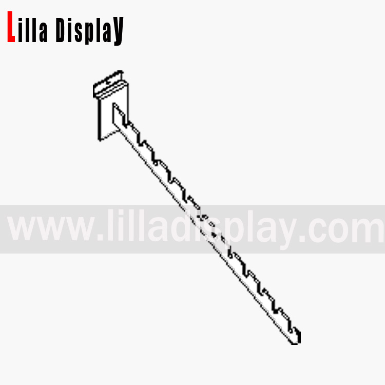 Lilladisplay 12 notched arm for slatwall chrome 10092