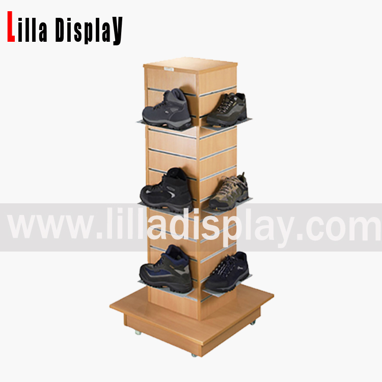Lilladisplay-shoes use slatwall tower gondola in maple color Item code:B1005