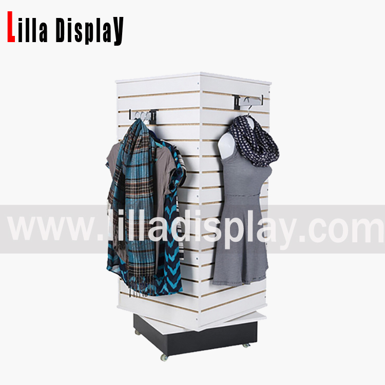 Lilladisplay- 4 sides white color rotating MDF slatwall board display for clothing store use B-1018