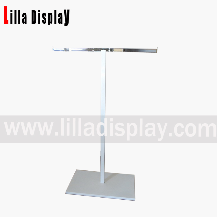 Lilladisplay- Stainless steel T Arm clothing display rack with white color base and pole powder coated DP-4007
