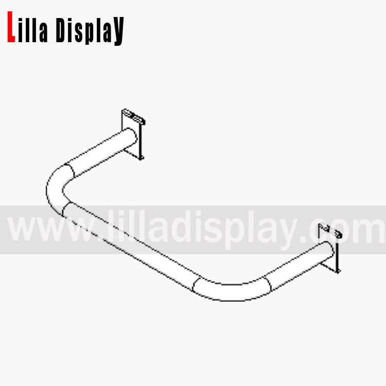 Lilladisplay gridwall hook on D rail 600mm chrome 22419