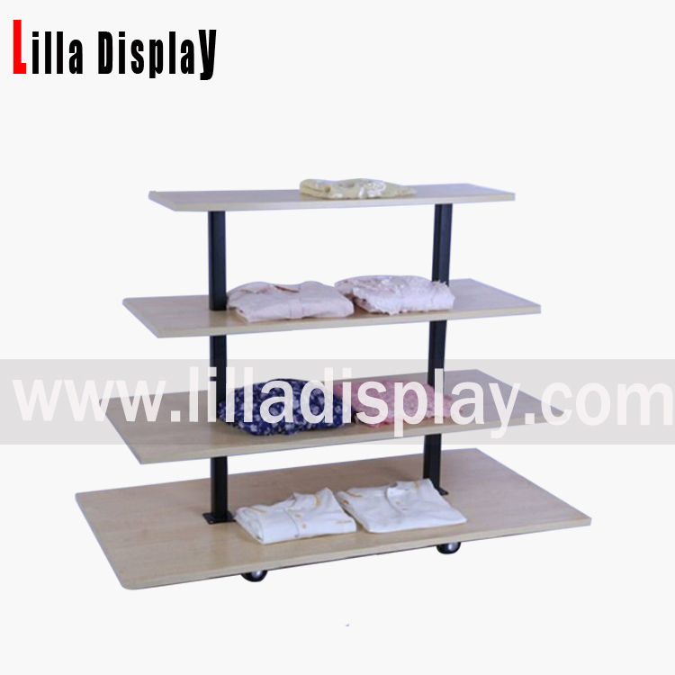 Lilladisplay-4 layers MDF shelves retail clothing display use rack MF-3