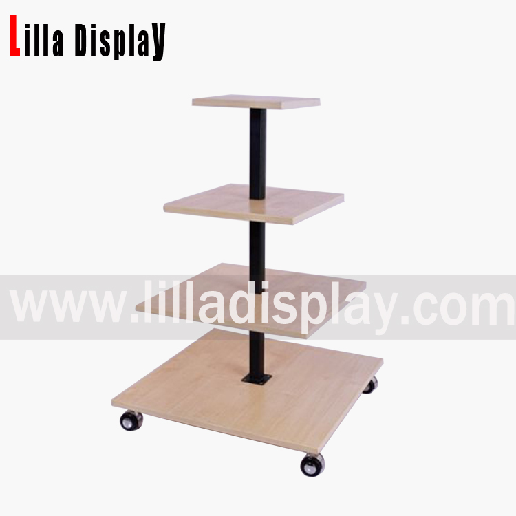 Lilladisplay-4-layer maple color MDF shelves portable display rack for shoes and clothing store retail use MF-4