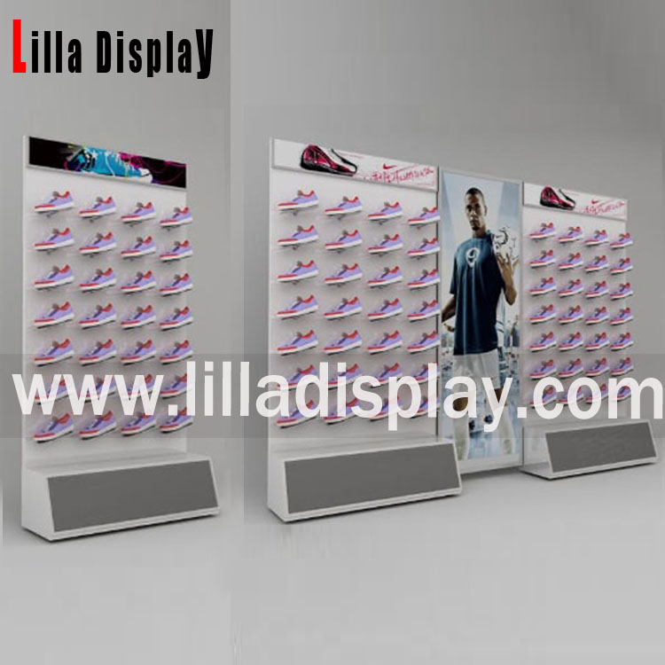 Retail sport shoes store use slatwall board