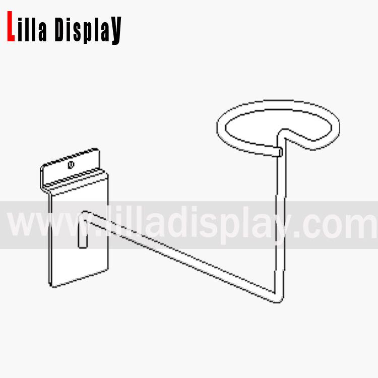 Lilladisplay slatwall hat display arm chrome for  hook 10136