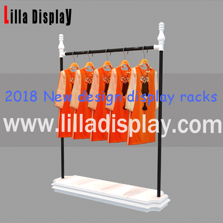Lilladisplay-2018 New design black powder coated display racks with white painted wooden base for clothes  DR001MW