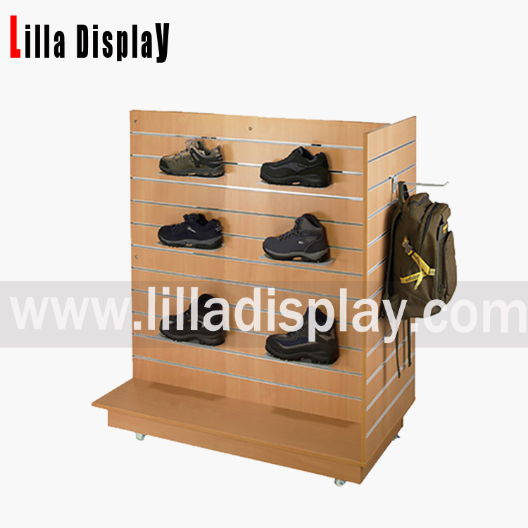 wall slat mounted shoe shelf display