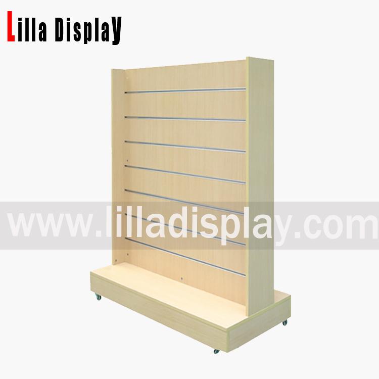 Lilladisplay-shop display stand slat panels on wheels maple Item code: B1040