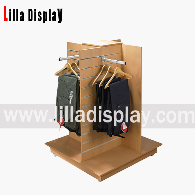 Lilladisplay-slatwall gondola shop display stand with slat panels and wheels Item code: B1004