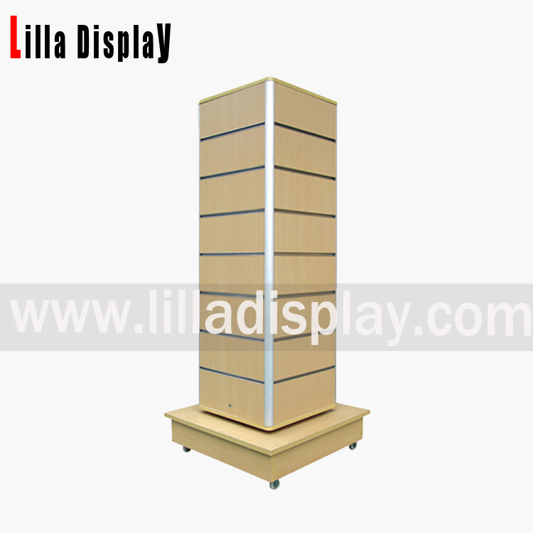 Lilladisplay-retail freestanding 4 sides wheel base portable maple color slatwall gondola tower display B1007