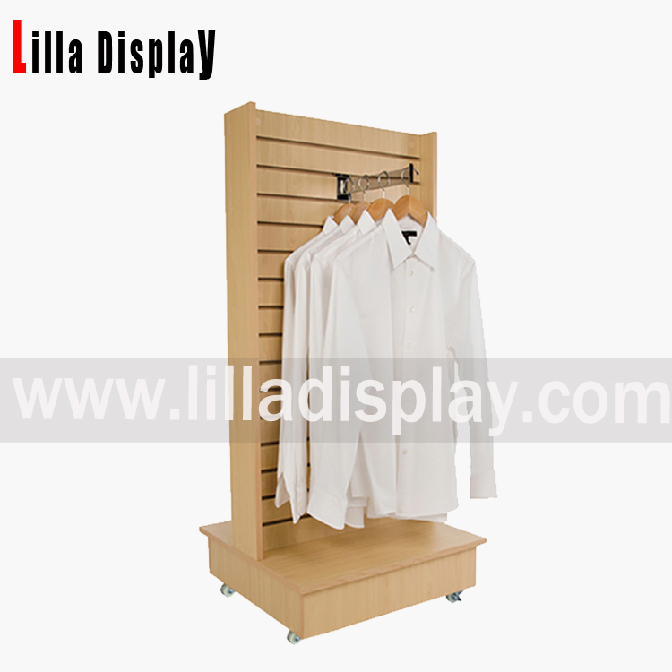 Lilladisplay-maple color slatwall gondola H shape shop display stand with slate panels and wheels B1012