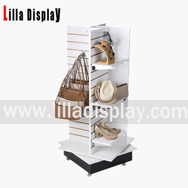 Lilladisplay-slatwall middle gondola shop display stand slat panels wheels white retail with spinning base B1015