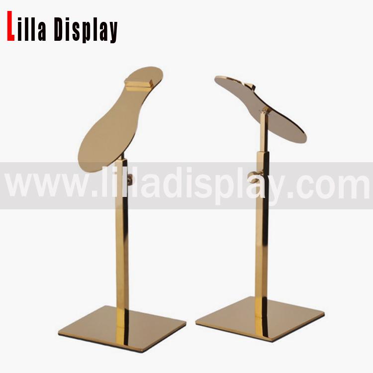 Lilladisplay- 小売ゴールドクロームメタルシューズラック表示の靴は、靴の形状設計スタイルSDR05Sスタンド