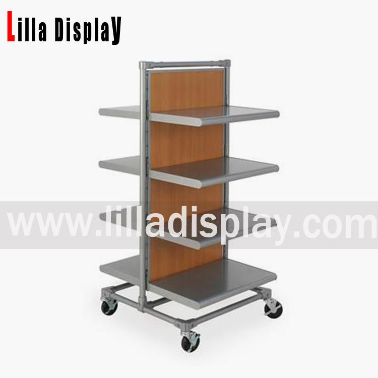metal and wood display shelves