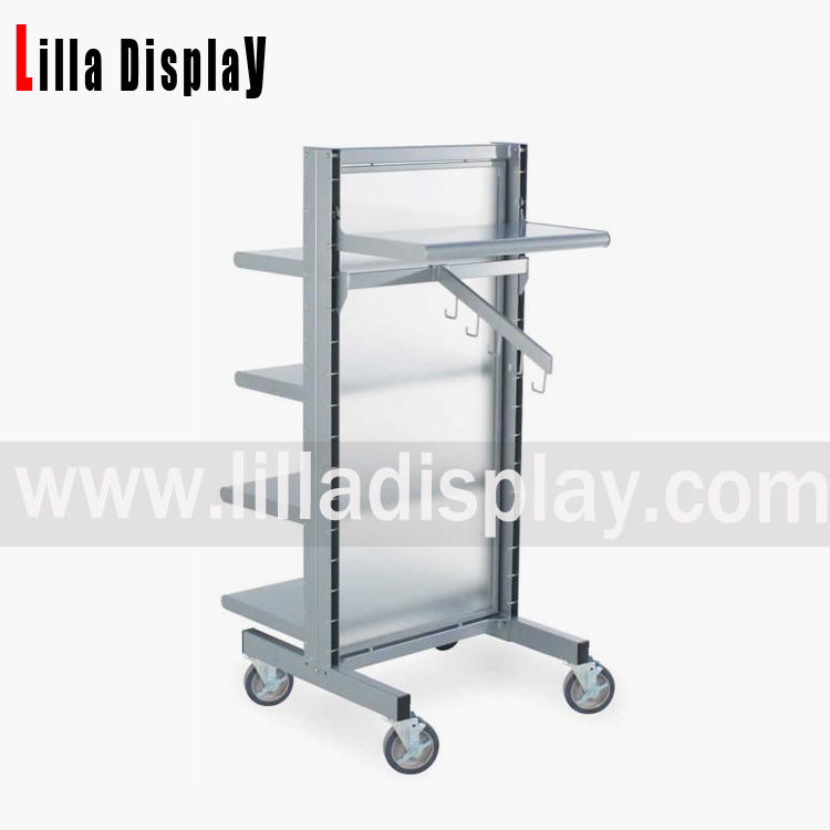 Lilladisplay- Retail use Portable clothing shelving racks made with metal and frosted glass display shelves / 4 wheels metal display rack DS1004M