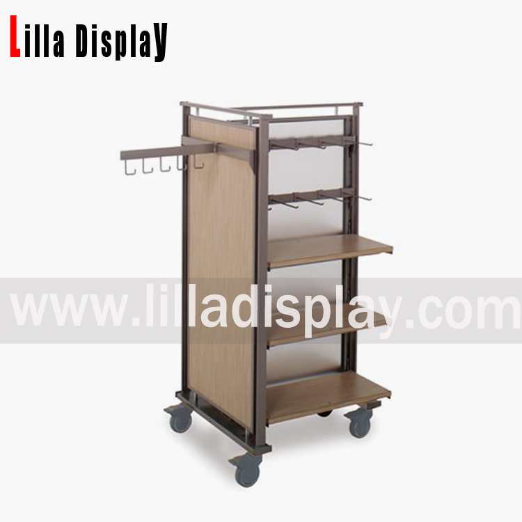 Lilladisplay- best selling portable MDF shelf with metal frame clothing display racks DS1005M