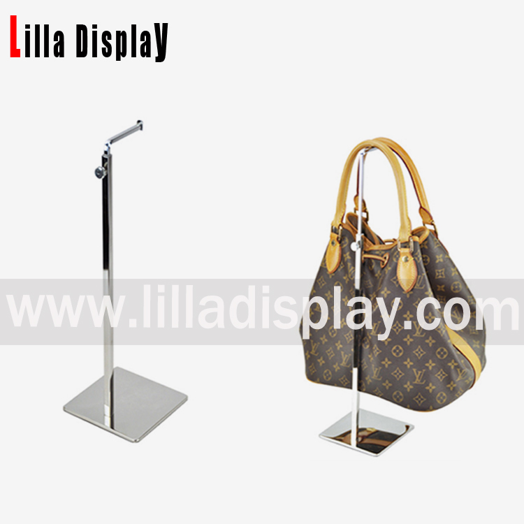 Lilladisplay- metal chrome adjustable hanging bag display stand BDR01