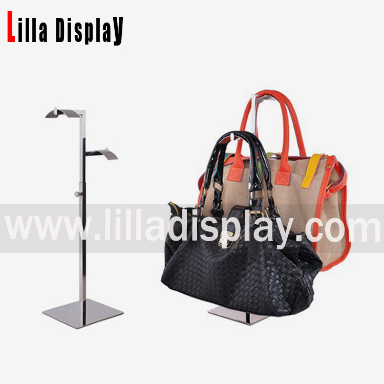 Lilladisplay- Chrome Double sides adjustable handbag display stand rack BDR06