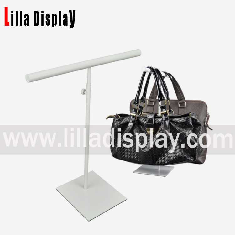 Lilladisplay- White powder coated big size T shape bag display stand BDR08