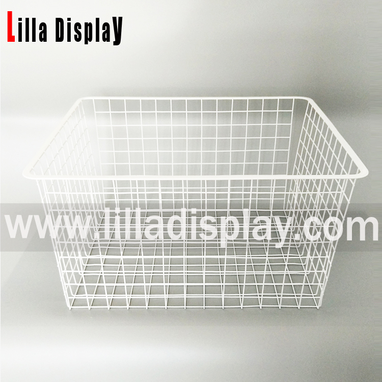 Lilladisplay-Large Square Metal Wire Lagring Baskets For Slatwall 22503