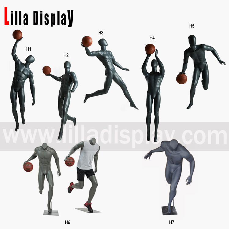 Lilladisplay-grey color sport playing basketball mannequins H collections