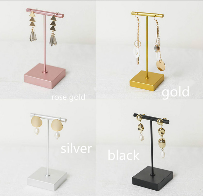 Lilladisplay-Metal  T shaped earring display stand for retail display with two sizes 4 kleuren 2019 new design style #201903