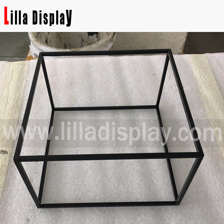 Lilladisplay-metal tube 6mm frame display cube 4 sizes set black powder coated LL-20190525-B