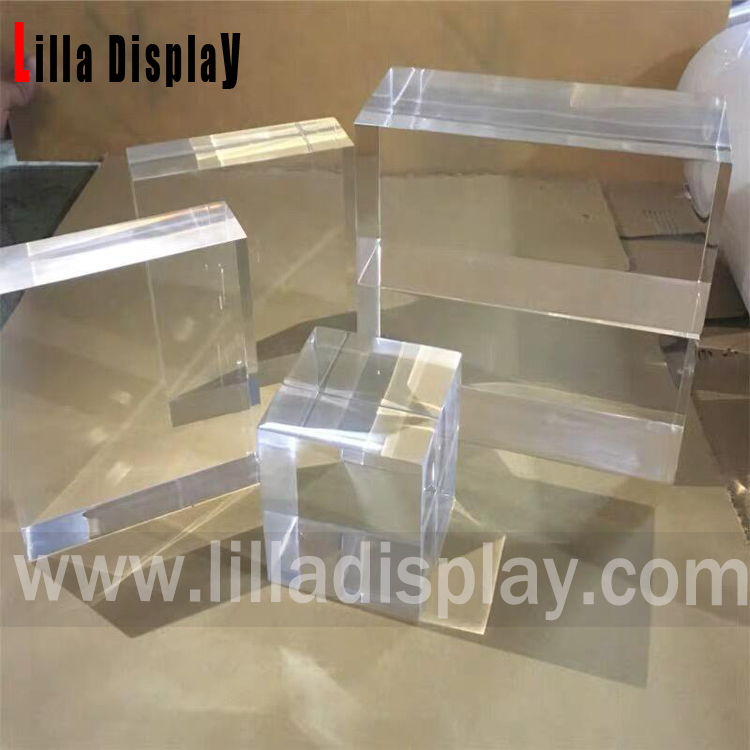 Lilladisplay-custom size and shape Clear/Transparent solid acrylic display block cube