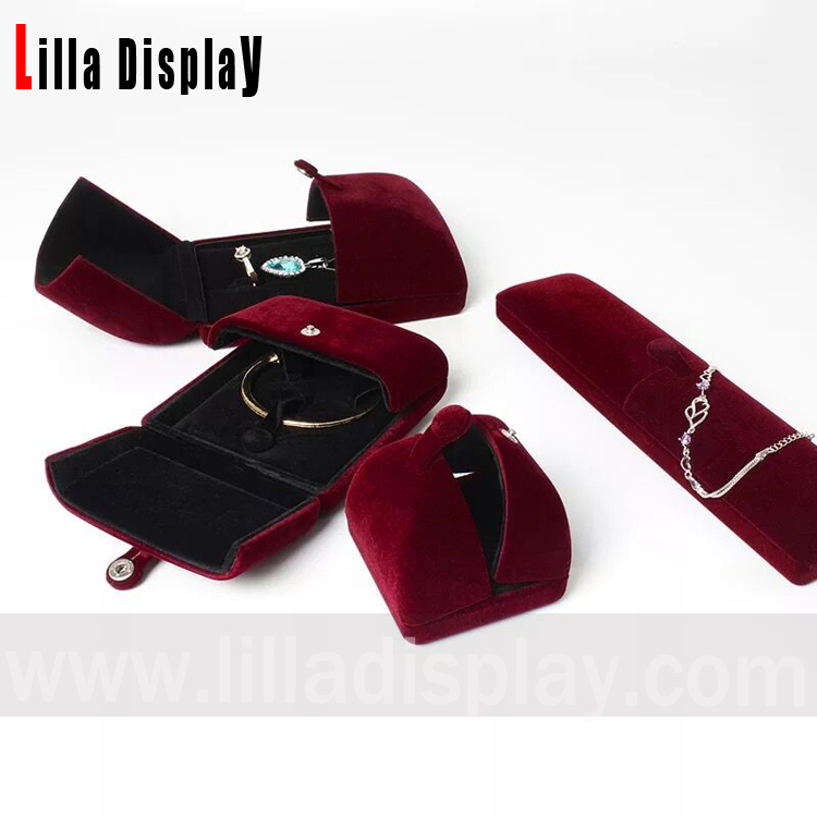 Luxury velvet jewelry packaging boxes multi colors stocks set 21901