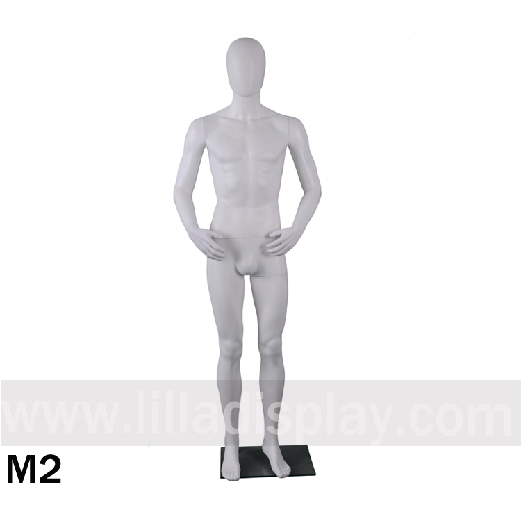 Lilladisplay PP material plastic white color male mannequin M2