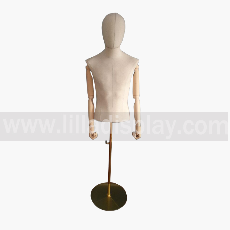 Lilladisplay hot sale male upper body fabric cover mannequin