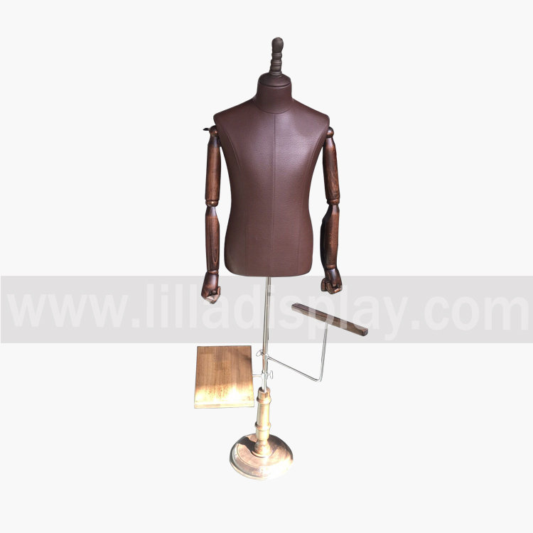 Lilladisplay regolabile marrone Pu abito maschile forma busto DM03