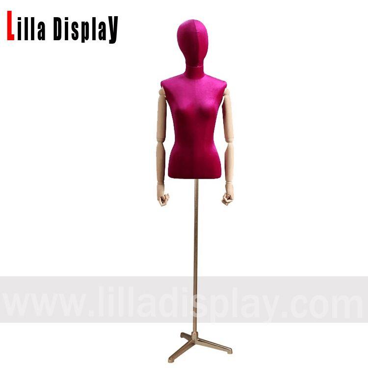 B21 maniquíes femeninos de terciopelo forma de vestir de tela busto