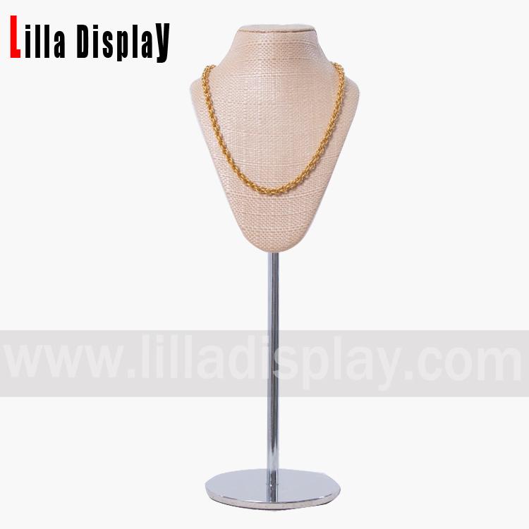 Lilladisplay straw mat texture mannequin bust form stand 20200201