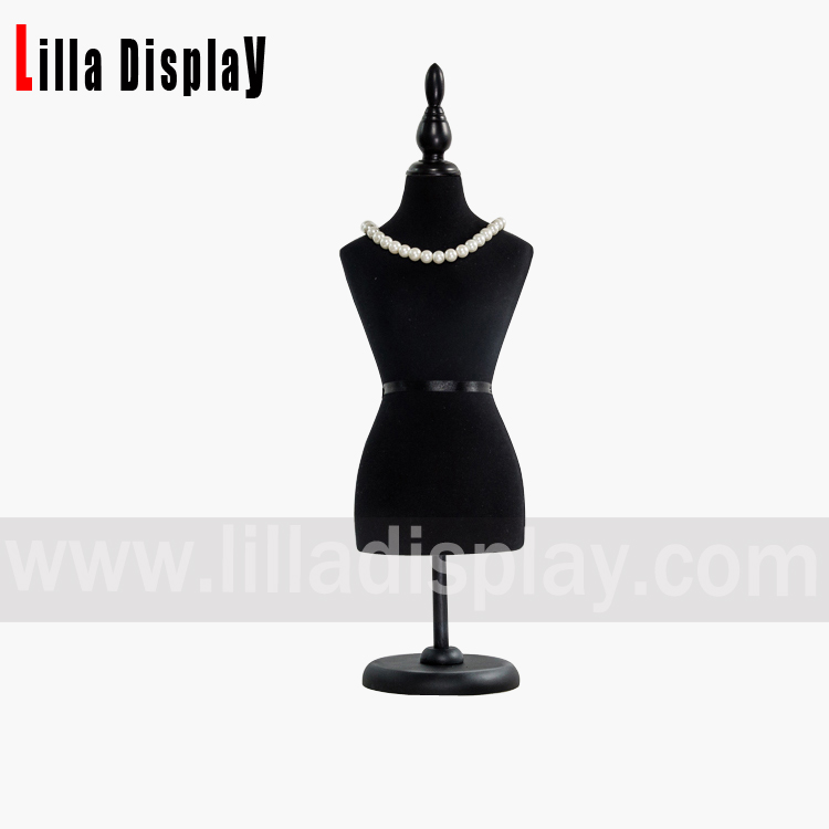 lilladisplay 1/2 mini size black cotton female mannequin dress bust form MN-0202C
