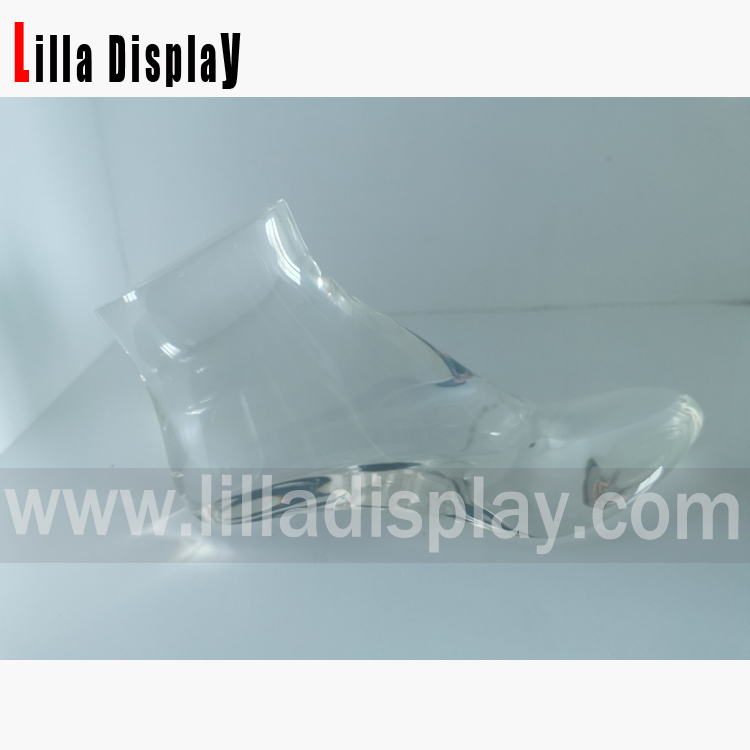 Lilladisplay cheap resin transparent mannequin foot form for 7CM high heels shoes display for sale RF-1
