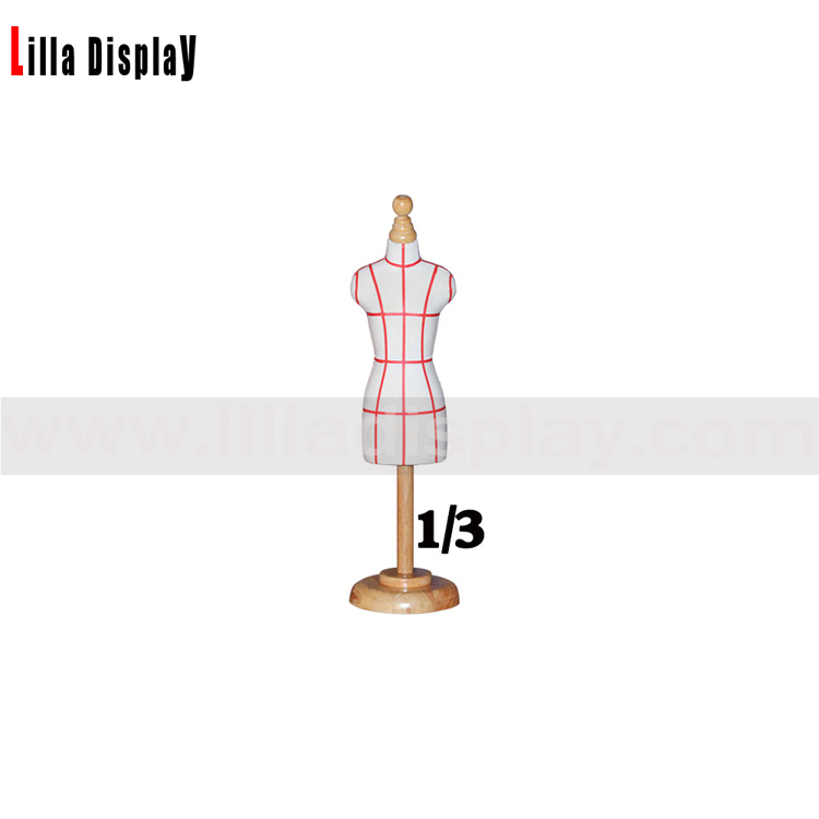 lilladisplay luxury 1/3 mini size adjustable height sewing dress form with wooden round base