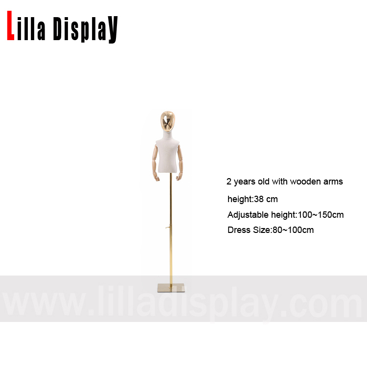 pears display 2 years old half chrome face adjustable gold base child mannequin dress form with flexible wooden arms CH-1