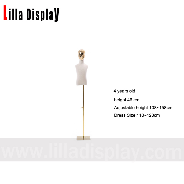 lilladisplay 4 years old half gold chrome face square adjustable gold face child mannequin dress form NO arms CH-4