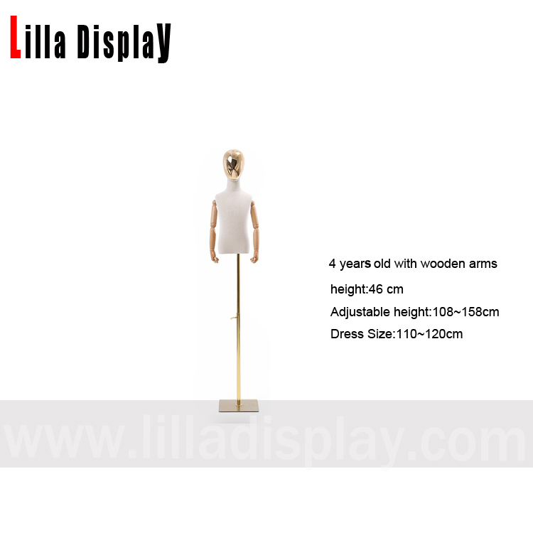 lilladisplay 4 years old half chrome face adjustable suare gold base child mannequin dress form with flexible wooden arms CH-3
