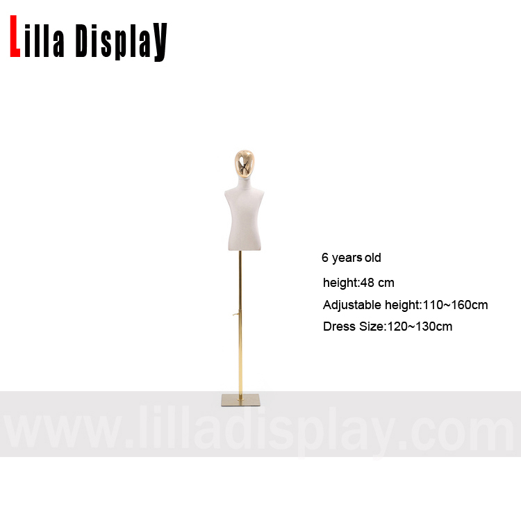 lilladisplay 6 years old No arms adjustable height gold chrome square base child mannequin dress form CH-6
