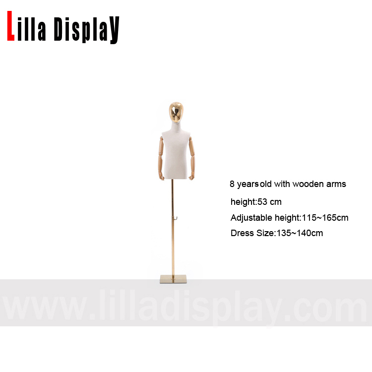 lilladisplay wooden arms 8 years old half chrome face adjustable height child mannequin dress form CH-7