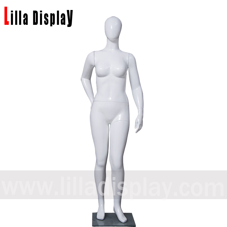 Lilladisplay egghead right arm backward white glossy female plus size mannequin FW-3