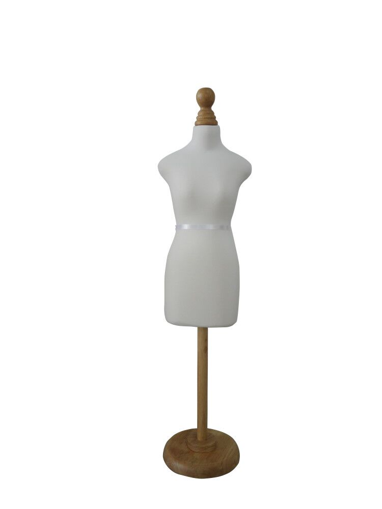 แสดงความหรูหรา 1/2 mini size white cotton adjustable height round wooden base sewing dress form