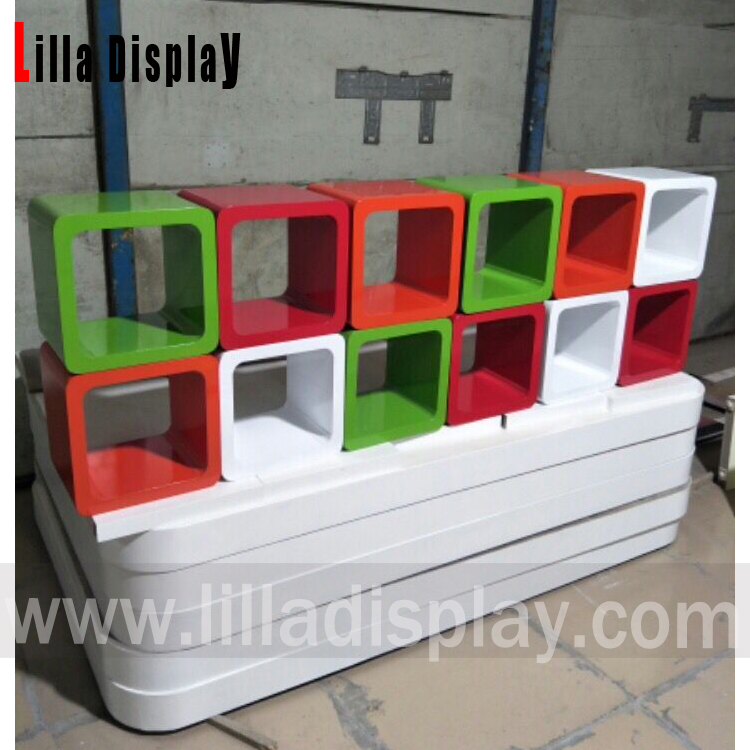 lilladisplay  painted display wooden cube shelf