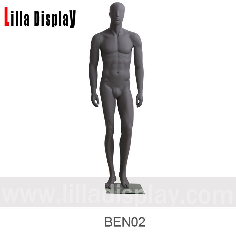 mørk grå avslappende stående rette armer mannlig abstrakt mannequin BEN 02